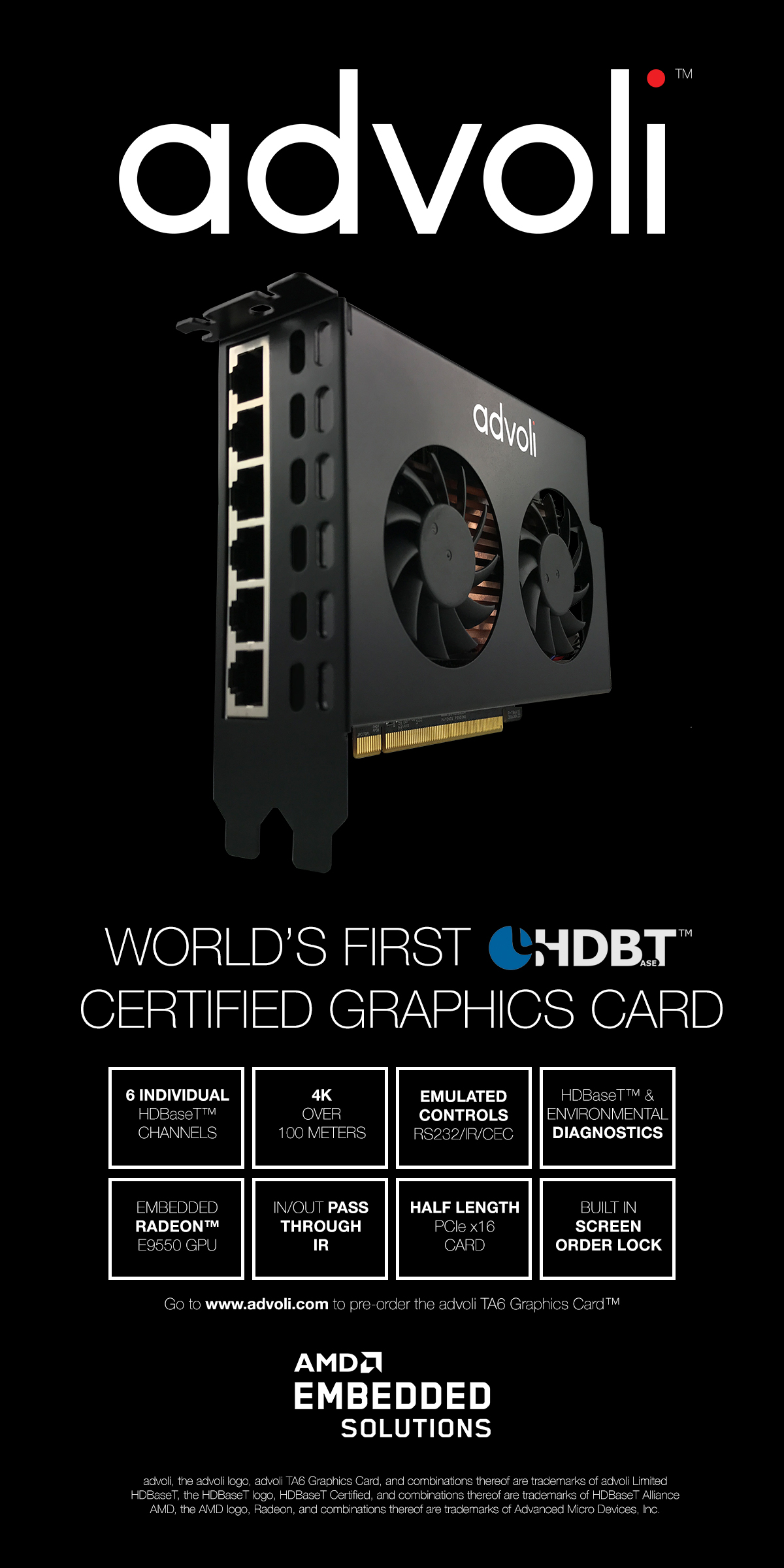 advoli TA6 World's First HDBaseT Certified Graphics Card