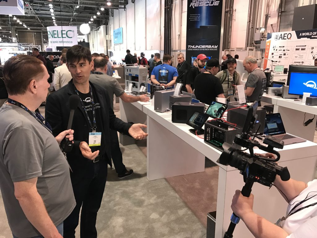 Founder & CEO Larry O'Conner of Other World Computing introducing OWC and Akitio eGPU with advoli HDBaseT Graphics Card inside at NAB Show 2019