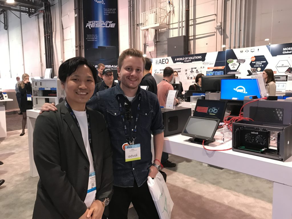 Paul from advoli and Yasui from AD-Techno at OWC Booth NAB show 2019