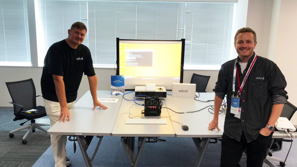 Paul and Clas with advoli TA6 Performance with Epson short throw projector at HDBaseT Plugfest 2019
