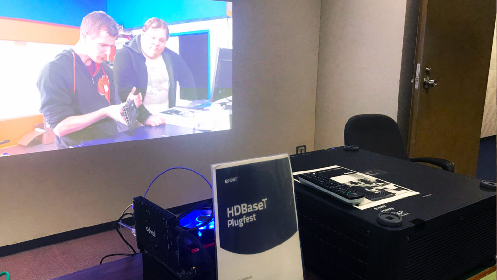 Testing NEC projectors at HDBaseT Plugfest 2019 with Linus Tech Tips video