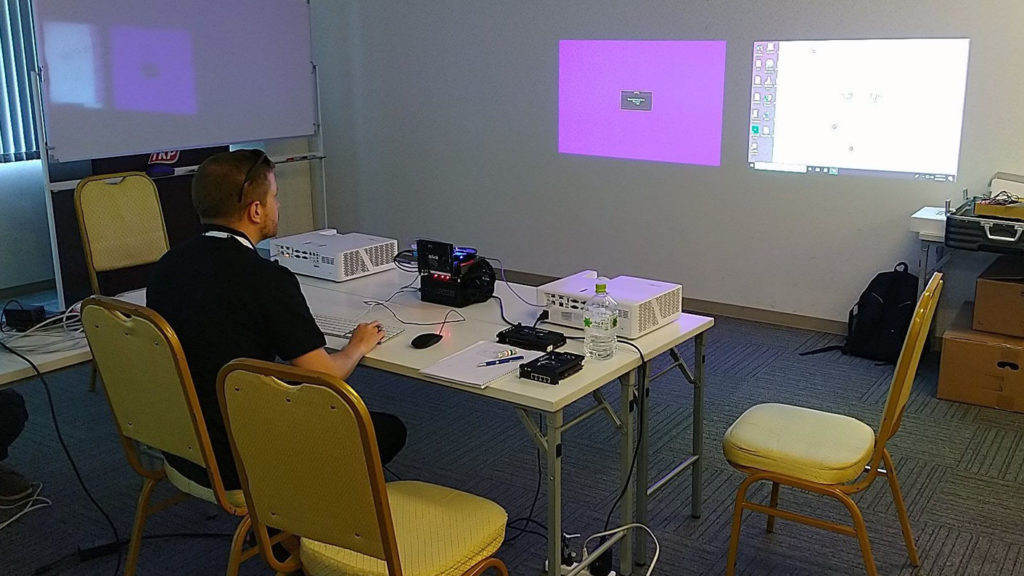 Paul of advoli testing IP controls (ethernet controls) using TC1 Extreme with Optoma projector