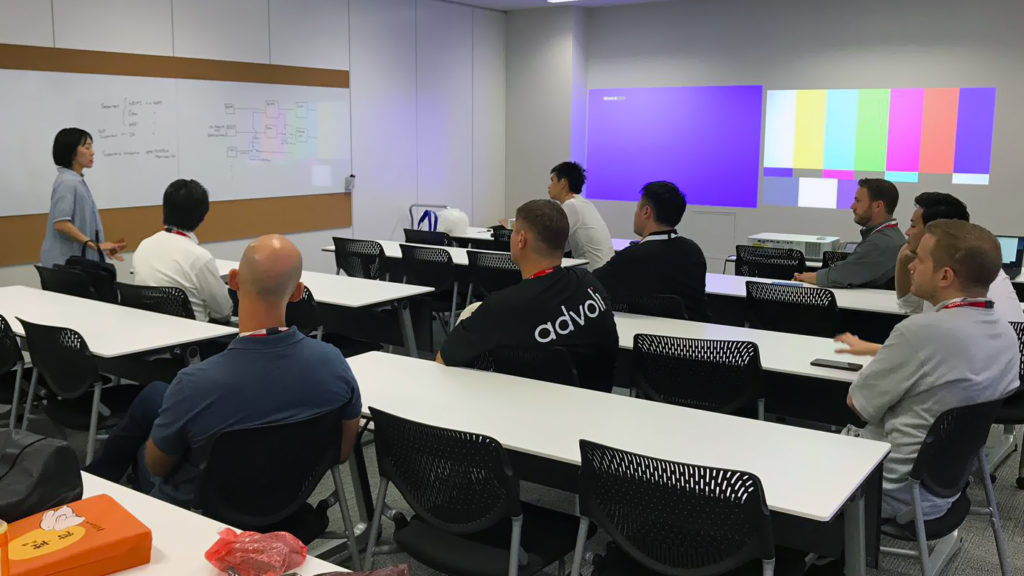 Team 1 of HDBaseT Plugfest 2019 getting an introduction to Sony projectors