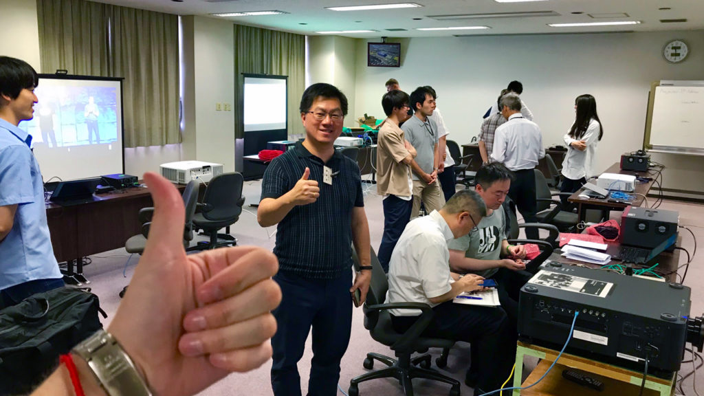 Thumbs up from Quentin of Valens at NEC HDBaseT Plugfest 2019